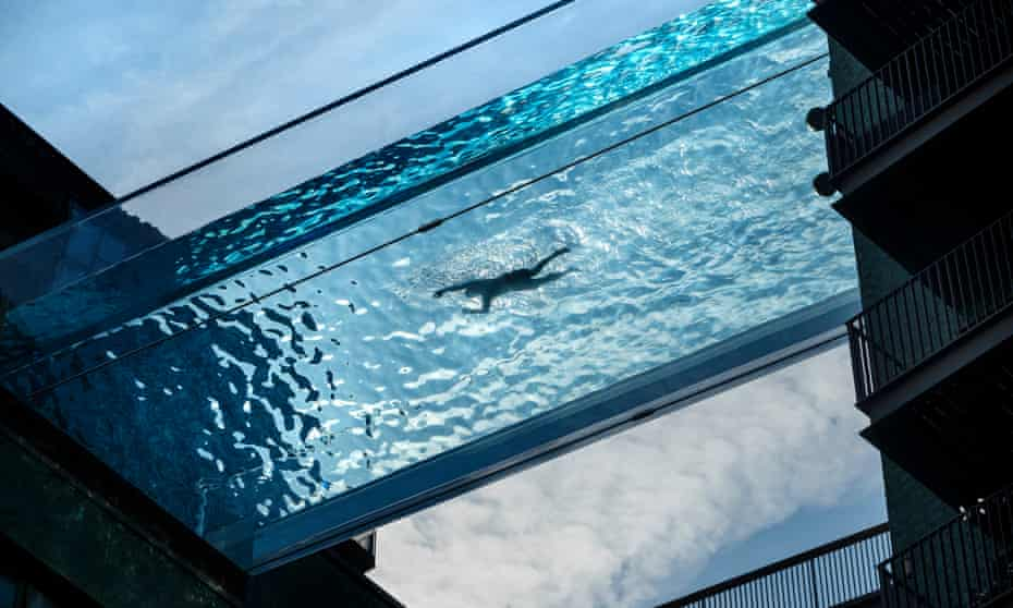 The 25-metre 'sky pool' at Embassy Gardens in London