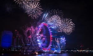 New Year fireworks on the River Thames, 1 January, 2017.