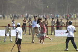 A game of cricket with boys from the Dilip Vengsarkar academy