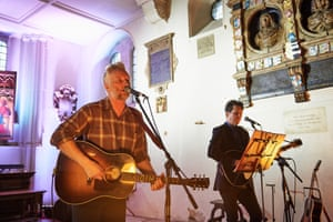 Billy Bragg and Joe Henry perform at St Pancras Old Church.