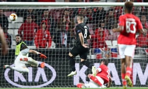 Jovic scores against his former club Benfica in the quarter-final. Although Eintracht lost the first leg 4-2 in Lisbon they turned the tie around in Germany, winning 2-0 to go through on away goals.