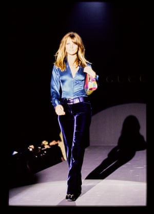 Kate Moss walks Gucci's autumn/winter 1995 show, designed by Tom Ford.
