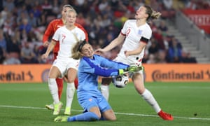 Ellen White of England battles for possession with North Macedonia's keeper Suarta Rechi.