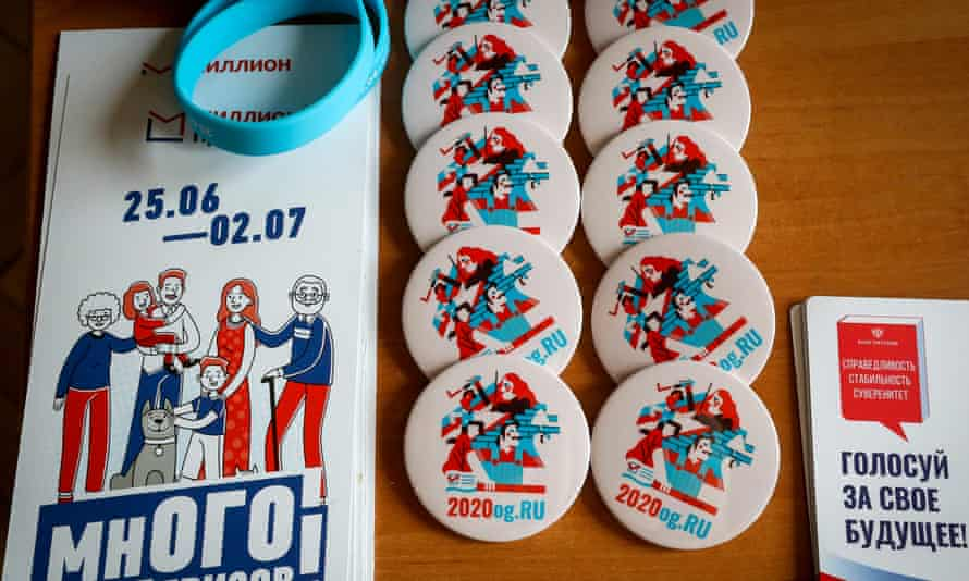 Prize draw leaflets, badges and wristbands for voters at a polling place at Moscow's Kazansky railway station.