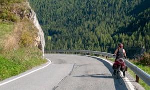 Woman Cycling the Inn river path