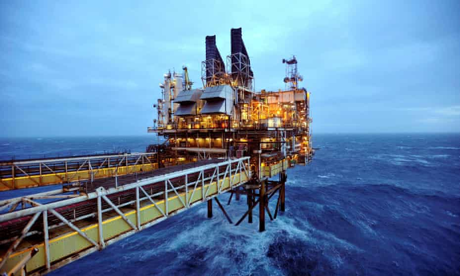 A rig in the North Sea, near Aberdeen