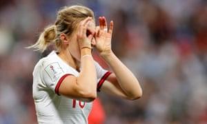 Ellen White of England celebrates after scoring a goal against Japan.