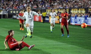 Alex Morgan takes on Zhao Rong during USA's 2-0 win over China in Phoenix.