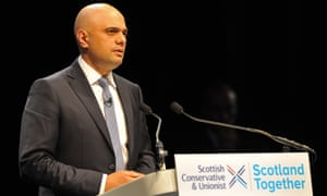 Sajid Javid addressing the Scottish Conservative party conference in Aberdeen