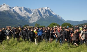Police and protesters at the G7 summit in Garmisch Partenkirchen.