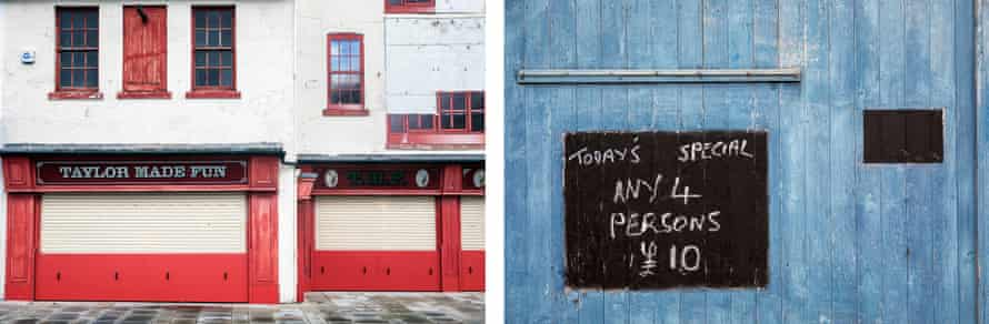 Taylor Made Fun, amusement arcade facade in Scarborough and (r) the crazy golf hut on North Bay.