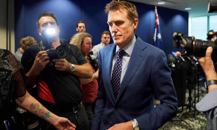 Australia's attorney general, Christian Porter, leaves a press conference on Wednesday