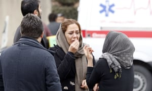 Relatives of Iranian passengers onboard the Aseman Airlines flight EP3704 gathered in front of a mosque near Tehran's Mehrabad airport on Sunday.