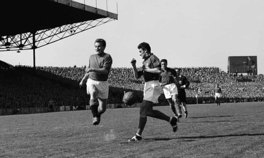 Giampiero Boniperti, left, playing for Italy against France in 1954.