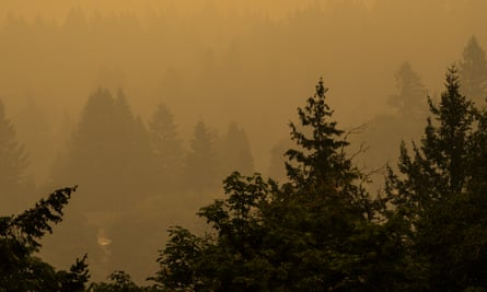 Heavy smoke obscures the view in Portland, Oregon, on 12 September.