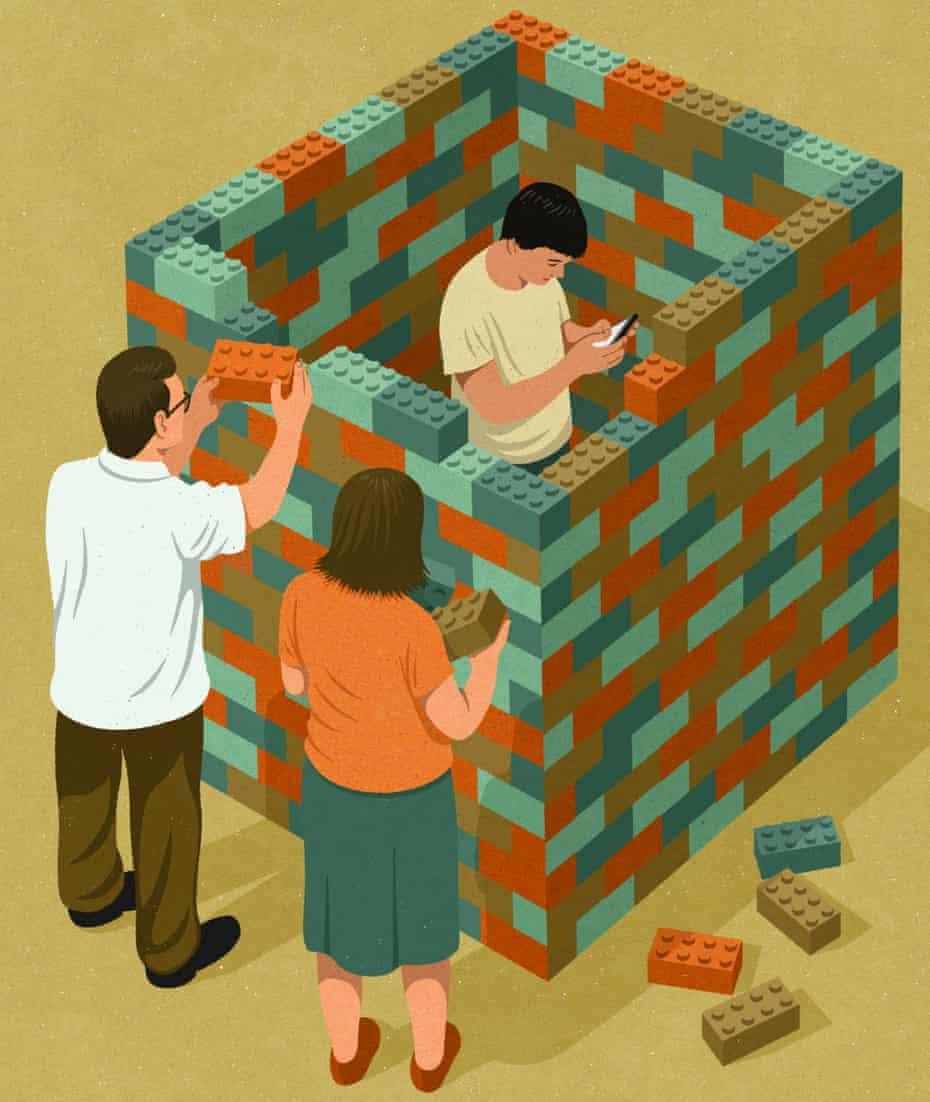 Illustration of child enclosed in square of lego bricks