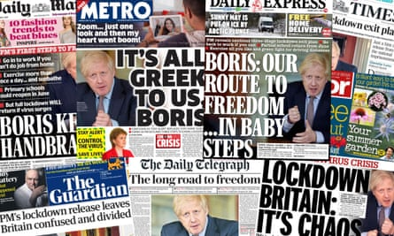 The UK newspapers on 11 May after Boris Johnson announces a multi-step plan to ease the coronavirus lockdown