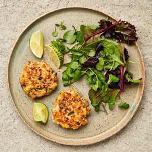 Yotam Ottolenghi's prawn and sweetcorn fritters.