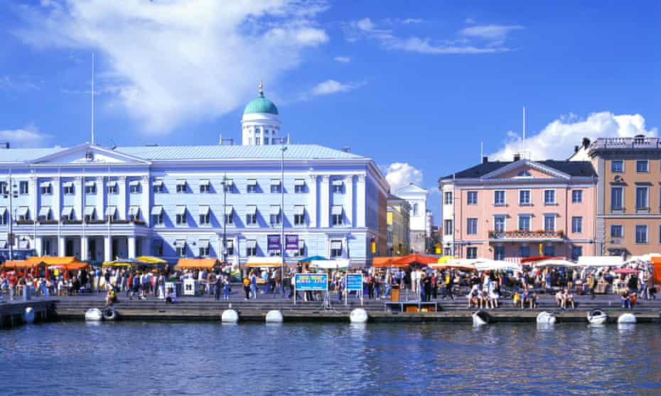 Finland Helsinki Kauppatori people marketplace pedestrian passerby promenade