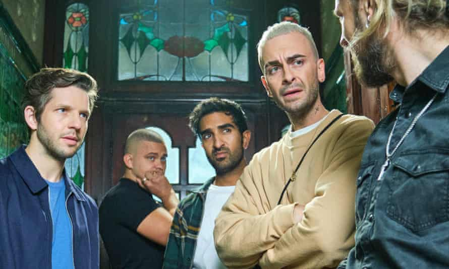 Vinnie (Joseph Gilgun, second right) and the gang in Brassic. Photograph: Sky