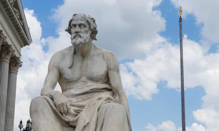 A statue of Greek historian Thucydides in front of the Austrian parliament in Vienna.