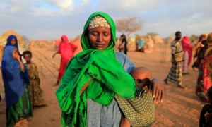 An internally displaced woman from drought-hit area desperate for food at the settlement area in Dollow, Somalia