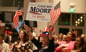 A Roy Moore supporter in Montgomery, Alabama Tuesday.