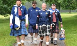 Scottish fans walk through Hyde Park.