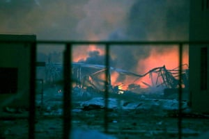 The destruction after explosions in the port area