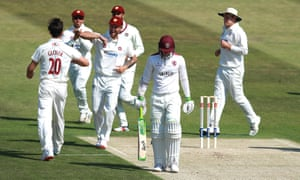 Northamptonshire's Brandon Glover celebrates after taking the wicket of Eddie Byrom.