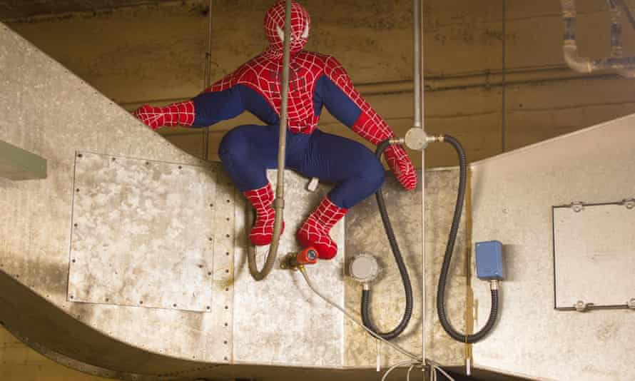 A giant stuffed Spider-Man toy