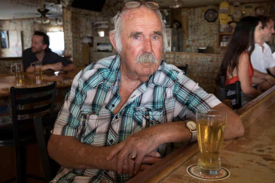 Wacko, an 80-year-old resident, at the bar inside the Ski Inn.
