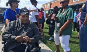 Joe Murchison, in a wheelchair, at the Triple Nickle Association reunion in Norfolk, Virginia.