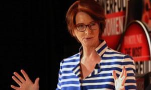 Julia Gillard on stage in London at Fortune magazine's Most Powerful Women summit.