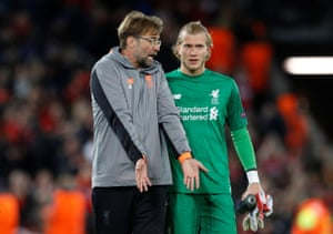 Juergen Klopp has words with Loris Karius after the match.