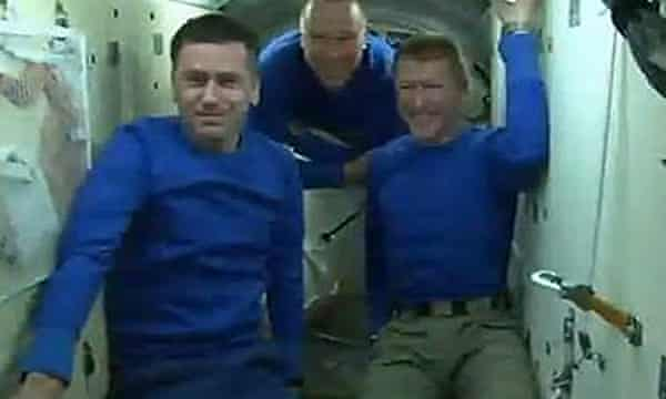 From left: commander Yuri Malenchenko, NASA's Tim Kopra and Major Tim Peake on the Soyuz capsule