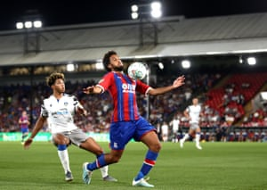 Jairo Riedewald controls the ball against Colchester in the Carabao Cup, his one first-team game this season.