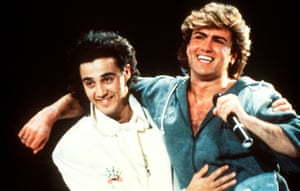 Andrew Ridgeley and George Michael of Wham! on stage in 1985.