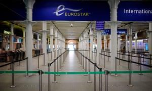 An empty London St Pancras Eurostar check-in area