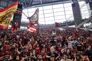 Atlanta United fans in Mercedes-Benz stadium.