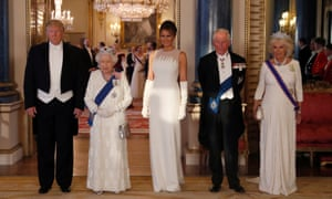 Donald Trump, the Queen, and members of their respective families arrive for the state banquet.
