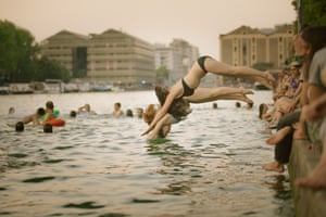 A group of swimmers in the Canal de l'Ourcq, Paris. I've swum almost everywhere in Paris, from the fountains to the catacombs and the Seine, of course, but mostly I swim in the Canal de l'Ourcq … maybe because it's five minutes from my flat.