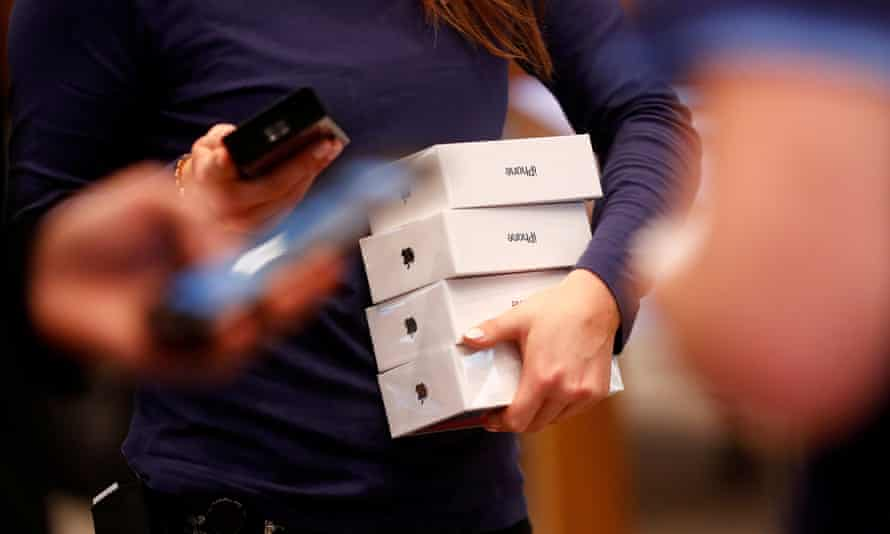 iPhone X packages at an Apple Store.