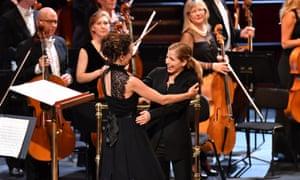 Celebration … Karina Canellakis, right, congratulates Zosha Di Castri after the premiere of her new lunar prelude.