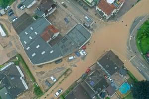 A flooded intersection in Hagen, western Germany