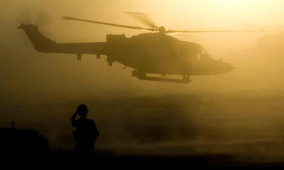A helicopter in Helmand, Afghanistan.