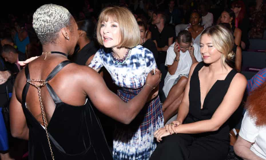 Actor Cynthia Erivo, US Vogue editor in chief Anna Wintour and tennis player Maria Sharapova at New York Fashion Week on 13 September.