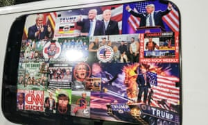 The van belonging to alleged US pipe bomber Cesar Sayoc festooned with pro-Trump political stickers