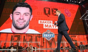 NFL commissioner Roger Goodell walks off stage as Baker Mayfield is selected as the No1 pick