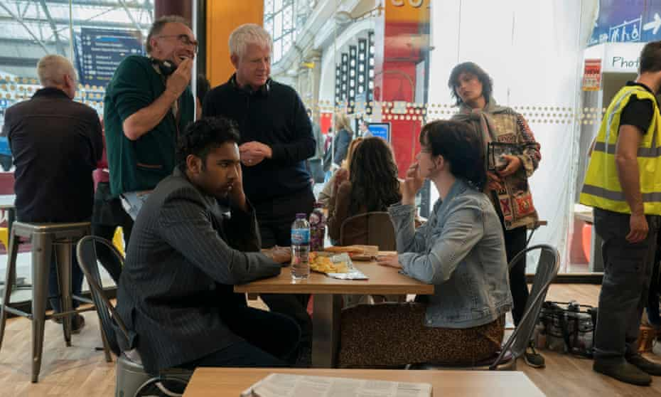 Danny Boyle and Richard Curtis filming Yesterday with Himesh Patel and Lily James.